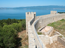 Castle Samuil And Lake Ohrid, Republic Macedonia Stock Photos