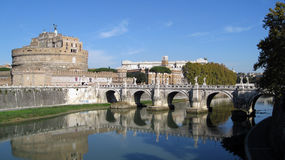 Castle San Angelo Rome. View of Castle St. Angelo and bridge across the Tiber River Stock Images