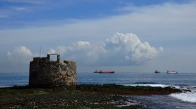 Castle of San Cristobal, bay of Las Palmas royalty free stock photos