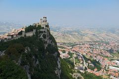 Castle in San-Marino. Castle on the top of rock in San-Marino Royalty Free Stock Image