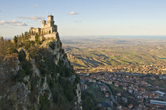 Castle of San Marino. Viewed from a nearest hill Stock Photos