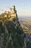 Castle of San Marino. Viewed from a nearest hill Stock Photo