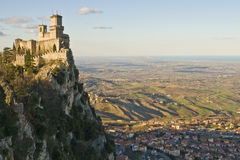 Castle of San Marino. Viewed from a nearest hill Royalty Free Stock Image
