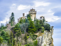Castle of San Marino on the hill Stock Image