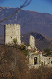 Castle of San Martino. This castle is the home of the Bishop of Vittorio Veneto since the medieval age, when the bishop was the lord of all the surrounding hills stock images