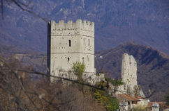 Castle of San Martino. This castle is the home of the Bishop of Vittorio Veneto since the medieval age, when the bishop was the lord of all the surrounding hills stock photo