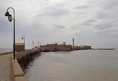 Castle of San Sebastian in Cadiz, Spain royalty free stock images