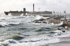Castle of San Sebastian in rough sea, Cadiz Royalty Free Stock Photos