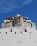 Castle from sand. Against the blue sky in hot day stock image