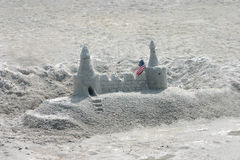 Castle in the sand. Sand Castle with american ,Florida's Gulf Coast stock photo