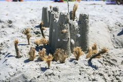 Castle on the sand of the beach.  royalty free stock photos