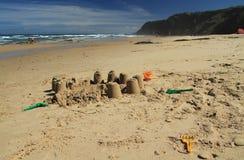 Castle in the sand. Vale dos Homens beach, Rogil, Aljezur, Portugal stock photos
