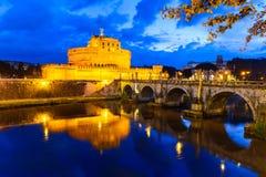 Castle Sant'Angelo, νύχτα στη Ρώμη Στοκ Εικόνες