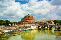 Castle sant'angelo bridge, Rome, Italy. Royalty Free Stock Images