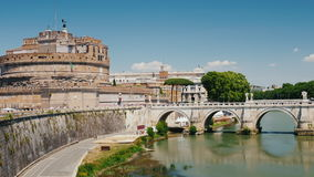 The castle of Sant`Angelo in Rome and the bridge over the Tiber stock footage