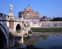 Castle Sant Angelo, Rome, Italy. Castle Sant Angelo (Mausoleum of Hadrian) and Sant Angelo bridge, Rome, Lazio, Italy, Europe Stock Photos