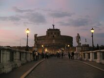 castle-sant-angelo-seen-from-the-bridge Royalty Free Stock Image