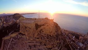 Alicante – aerial sea and castle view stock footage