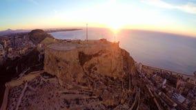 Alicante – aerial sea and castle view. Castle of Santa Barbara, Aerial View, Alicante Spain stock footage