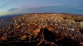 Alicante – aerial sea and castle view stock video footage