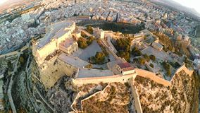 Alicante – aerial sea and castle view. Castle of Santa Barbara, Aerial View, Alicante Spain stock video