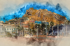 Castle of Santa Barbara. Digital watercolor painting of a Mount Benacantil with a Castle of Santa Barbara (Castillo de Santa Barbara)- fortification in the Royalty Free Stock Image