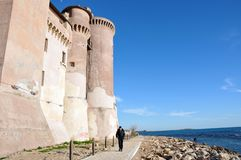 Castle of Santa Severa in Italy. View of the Castle of Santa Severa. Today it is also seat to the Museum of the Sea and Ancient Navigation. Lazio Region, Central royalty free stock photos