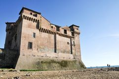 Castle of Santa Severa in Italy. View of the Castle of Santa Severa. Today it is also seat to the Museum of the Sea and Ancient Navigation. Lazio Region, Central royalty free stock photo