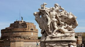 Castle SantAngelo, Rome, Italy - seen from Vittorio Emmanuele bridge royalty free stock photo