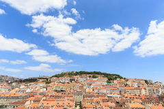 Castle of Sao Jorge and Alfama district at sunset in Lisbon. Stock Image