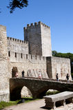 The castle of Sao Jorge overlooking the city of Lison Portugal Royalty Free Stock Photos