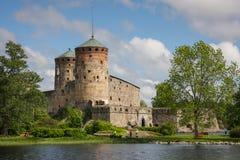 Castle of Savonlinna, Finland. Olavinlinna is a 15th-century three-tower castle located in Savonlinna, Finland Stock Image