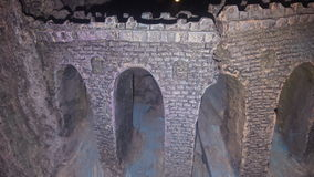Castle. Scenery of broken castle wall stock images
