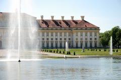 Castle Schleißheim-gardenside. Castle Schleissheim near munich (Germany) - gardenfront and park with fountains - castle Schleissheim was a domicile of the Stock Images