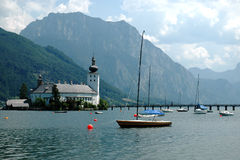 The castle of Schloss Ort in the Traunsee lake Royalty Free Stock Photos
