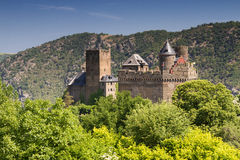 Castle Schoenburg at the Upper Middle Rhine Valley. Germany stock photography