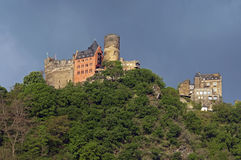 Castle Schonburg at the top of Rhine Valley. Germany: The former medieval fortress is situated in the cultural heritage landscape: the upper valley of Middle Stock Images