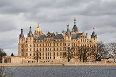 Castle in Schwerin. With Lake and cloudy weather royalty free stock photo