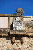 Castle sculpture on Giants Arch, Antequera. Stock Photo