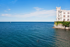 Castle by the sea. Famous Miramare Castle by the Adriatic Sea near Trieste, Italy stock image