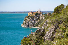 Castle. Sea and cliffs landscape. Adriatic sea, Italian coast - Fruglia. Stock Photo