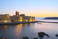 Castle on the sea of Le Castella,Italy, sunset Royalty Free Stock Photo