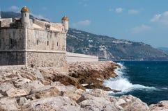 Castle at sea. Menton, Mediterranean Sea Royalty Free Stock Images
