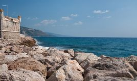 Castle at sea. Menton, Mediterranean Sea Panorama Stock Images