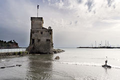 Castle on the sea - rapallo - Stock Photo