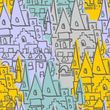 Castle seamless pattern. Sketch of  old Royal Castle. Vector bac Royalty Free Stock Image