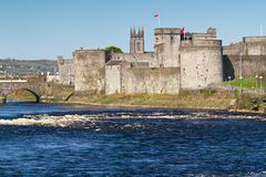 Castle at Shannon river. King John Castle in Limerick, Ireland Stock Images