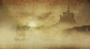 Castle and ship grunge. Mysterious castle in clouds with galleon approaching Royalty Free Stock Photography