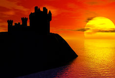 Castle silhouette Royalty Free Stock Photography