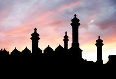 Castle silhouette. On sunset sky background Stock Photo